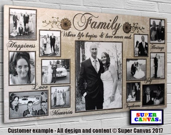 Family framed personalised bespoke Canvas Print with 13 pictures