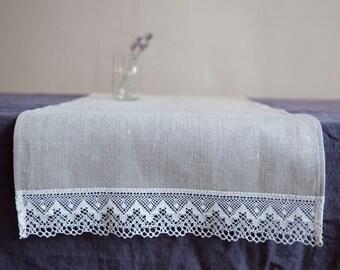 SALE! Natural linen towel with lace / 46 x 100 cm / linen bath towel / natural linen / eco linen / linen table runner