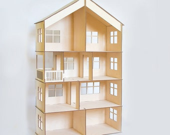 Doll house with garage and attic, dollhouse, Wood dollhouse, Dollhouse kit, Natural dollhouse, Modern dollhouse, 1:12 scale