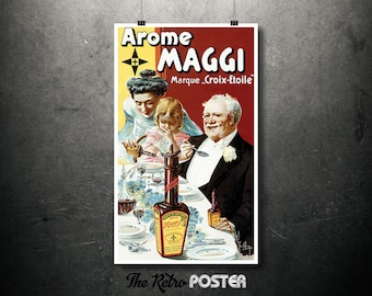 """Arome Maggi - Marque """"Croix-Etoile"""" - 1900s - French Clear Soup, Food Art, Bar, Cafe, Restaurant, Advertising, Poster Vintage, Antique"""