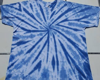 Hanes Comfortsoft t-shirt. Adult Size 2XL.  Hand tied and dyed blue on blue spiral tie dye.