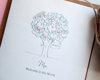 Cute Little Tree Personalised New Baby Girl Card with Swarovski Crystals - Congratulations New Baby Card