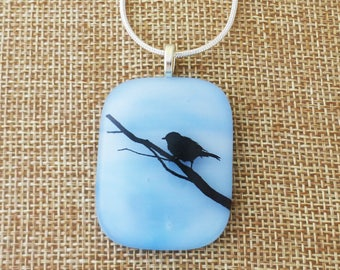 Bird on a branch, Fused glass pendant, Blue glass, Blue fused glass bird, A11