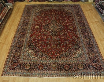 Traditional Semi Antique Fine Kashan Wool Persian Oriental Area Rug Sale 9X13