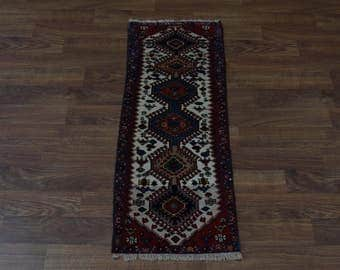 Stunning Narrow Yalameh Runner Persian Wool Oriental Area Rug Carpet Sale 2X5