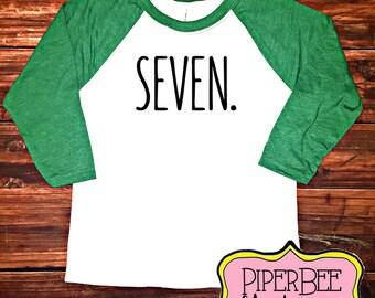 Seven Year Old Birthday Shirt, Seventh Birthday Boy Shirt, 7 Year Birthday Shirt, 7th Birthday Shirt, Birthday Boy Outfit, Raglan Shirt