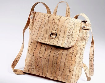 New rectangular Cork Backpack, Cork Hand Bag, Gift for Her, Purse bag Eco Friendly, Handmade Cork Backpack,different patterns