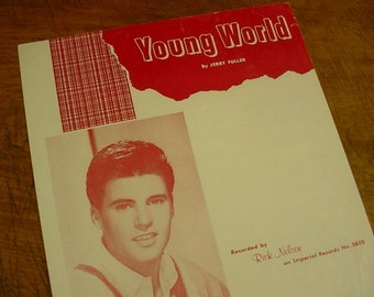 Sheet Music Young World Ricky Nelson Music Sheet Antique Vintage Early Rock and Roll Rock A Billy