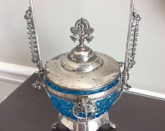 Victorian E.G. Webster & Brother Silverplated Pickle/Relish Caster with Aqua Blue Cut Glass