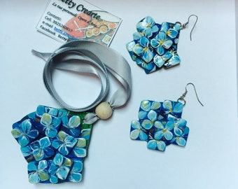 BLUE HYDRANGEA jewelry sets-necklace and earrings