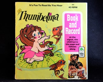 Peter Pan Records Story of Thumbelina 24 page book LP Record Children Book,45 Vintage Record,Audiobook,Record lp Album,Kid Children lp Story