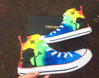 Rainbow butterfly converse