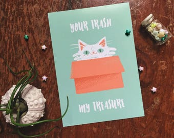 Your Trash My Treasure // Cat Box Giclee Print