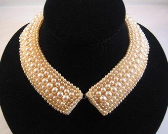 Vintage 1950 Baar and Beards Japan Pearl Beaded Collar, Peter Pan CollarVintage