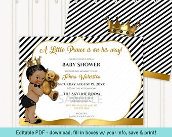 Little Prince Black Gold White Teddy Bear Gold Crown Stripes Invitation | African American | Editable Instant Download