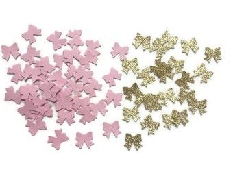 Bow confetti , Pink and gold bow confetti , Its a girl confetti , Gender reveal confetti , Ribbon confetti , Baby girl shower confetti, Bow