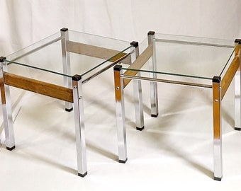 Vintage Mid Century Modern Glass, Chrome & Chrome End Table, Side Table, Coffee Table, Dresser Retro Decor Arlkoc Mad Men, Modern Industrial