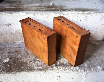 Wooden Tool Holder Vintage Tool Rack Hardwood Blocks Factory Blocks Numbered Heavy Hardwood Rustic Country Decor Plant Stand Cutting Board