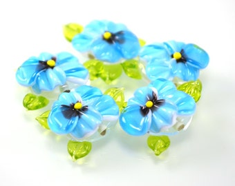 Lampwork beads, 1pc Handmade Glass Pansy beads, floral lampwork, SRA beads, lampwork flower beads, Lampwork Pansy Beads, aquamarine beads