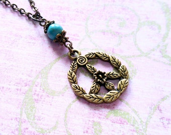 Peace Sign Necklace / Boho Necklace / Vintage Necklace / Bead Necklace / Peace Necklace / Bronze Necklace