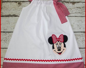NEW Super Cute Minnie Mouse Pillowcase style dress in White and red gingham
