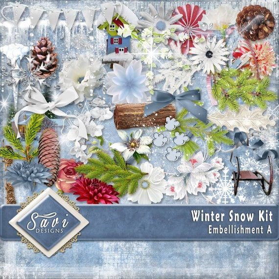 Digital Scrapbooking Kit, WINTER SNOW, Icycles, snow, snowflakes, frosty sparkles, pine cones, pine trees, great winter scrapping kit