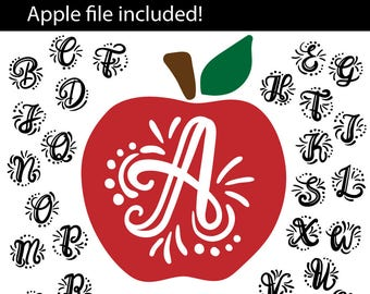 A-Z hand lettered Initials with apple, SVG, eps, png, jpeg, dxf, vector, cut file, digital download