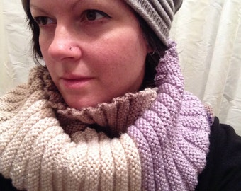 Hand-Made Knit Wrap Scarf - Multi-Colour - Purple/Beige/Taupe