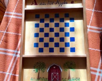 Vintage Checkerboard / Wooden Checkerboard / Antique Wall Decor / Farmhouse Decor