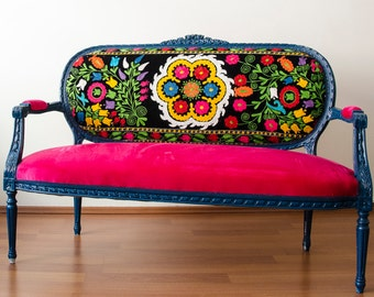 Antique Lounge Sofa with Handmade Fabric from Uzbekistan