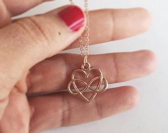 Maid of honor, necklace ROSÈGOLD with love, Infinity gift, filigree jewelry in rose gold