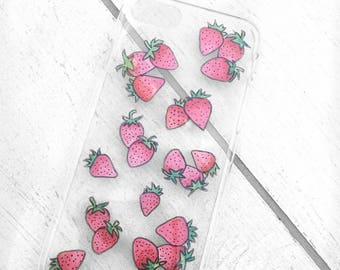 Strawberries Phone Case for iPhone or Samsung, Sweet Fruit for Summer, Hand Painted