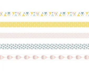 Set of 5 Masking Tape decorative Scandinavian - tape - label Ribbon - Ribbon sticker