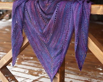 "Knitted shawl ""Inky Asymmetry"" - oversized lace shawl - extra fine merino wool shawl"