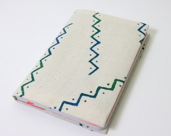 Hand painted fabric journal cover, painted a6 notebook cover, fabric book cover, gift for women, ethnic journal
