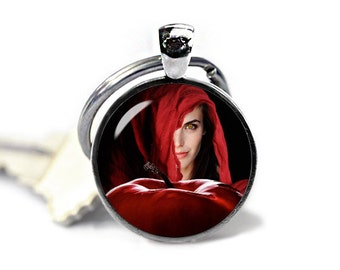 Once Upon a Time  Keychain Red Riding Hood Ruby Key Ring Keyfob Fandom Jewelry Fangirl Fanboy