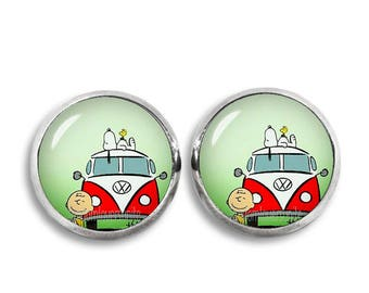 Snoopy Charlie Brown Stud Earrings Woodstick Snoopy earrings Snoopy Jewelry Geeky Fangirl Fanboy Christmas Gift
