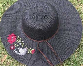 floppy sun hat - custom floppy hat - flower embroidery - embroidered - sun hat - womens straw hat