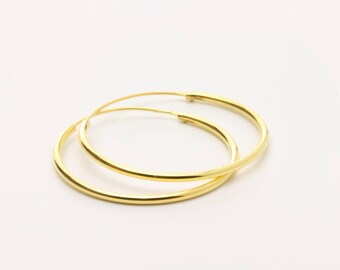 30mm Gold Plated Sterling Silver Hoops / Gold Classic Hoops / Everyday Hoops / WS54