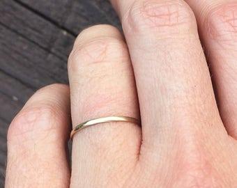Thin Gold Ring - Tiny Half Round 14 K Gold Ring - Thin Gold Ring - Gold Wedding Band - Gold Wedding Ring  - Wedding Ring