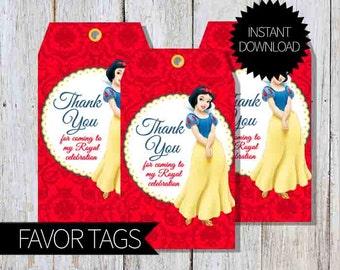 Snow White Birthday Party PRINTABLE Favor Tags- Instant Download   Princess Snow White   Disney