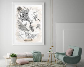 CHARLESTON SC Watercolor Map Art Black Ink and Light Watercolor Vintage City Map Large Size Graphic Drawn Wall Art Canvas Map