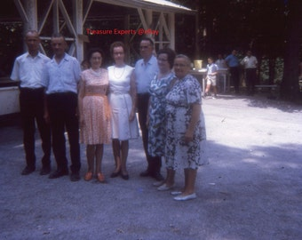 Lot Of 2 35mm Slide 1964 Group Of Senior Citizens At A Park People In Background