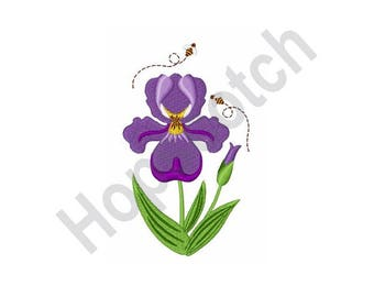 Purple Iris Flower- Machine Embroidery Design