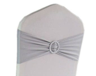 Silver Elasticity Stretch Chair cover Band with Buckle Slider Sashes Bow Decor