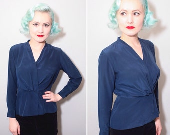 40's Style 70's Navy Blue Silk Long Sleeve Blouse | Criss Cross V-Neck | Peplum | Size Small