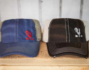 Fabric hat with mesh back embroidered with the Farmhouse31 Rooster or logo - variety of colors!