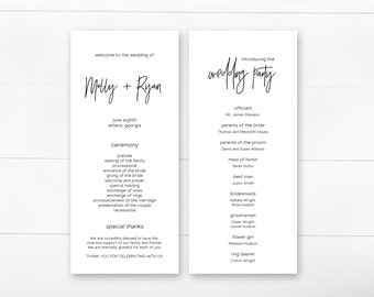Wedding Program, Printable Wedding Program, Ceremony Program, Modern Wedding Program, Minimalist
