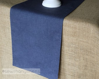 Navy Indigo Blue Table Runner Solid Centerpiece Nautical Linens Kitchen Dining Room