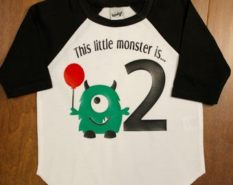 Monster Birthday Shirt, Boys Second Birthday Shirt,Boys Second Birthday, 2nd Birthday Shirt; Boys 2nd Birthday, Two, Are You Kitten Me,